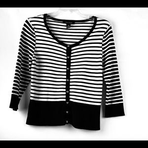 WHITE BLACK MARKET WHBM Striped soft cardigan